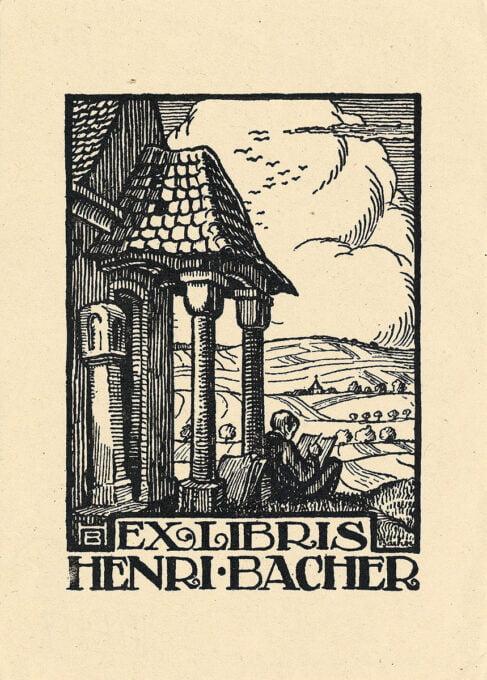 gravure sur bois - Ex libris Henri Bacher