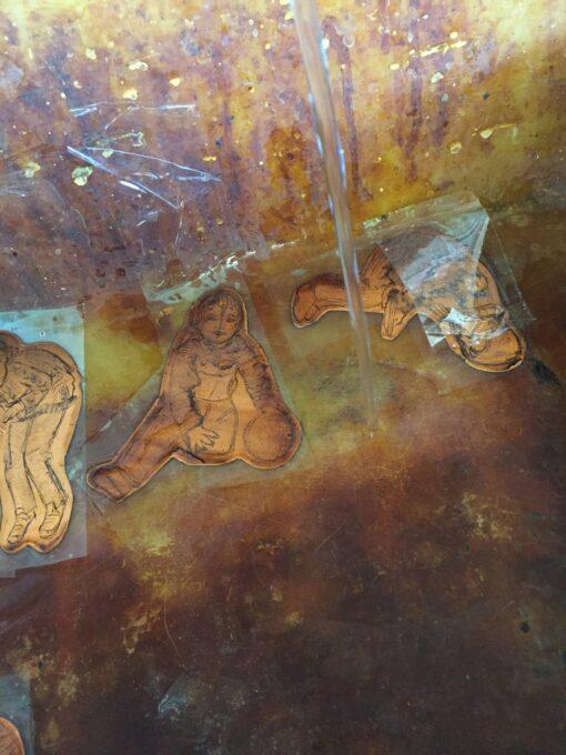 gravure, cuivre, dans le bain d'eau forte