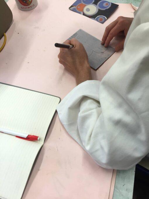 gravure, linogravure, report du dessin sur la plaque