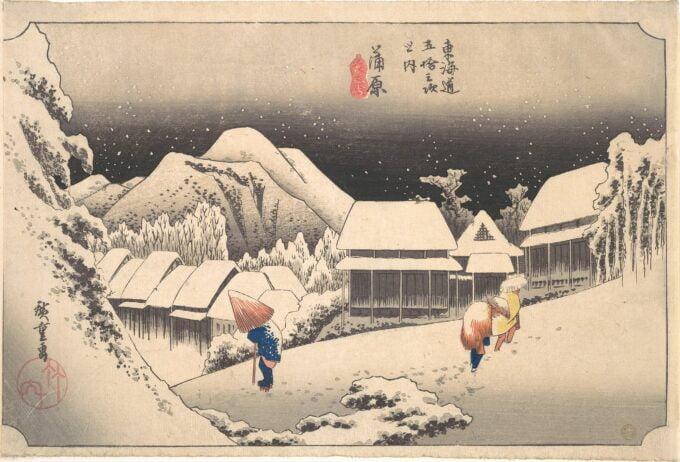 gravure sur bois - Hiroshige - a snowy evening