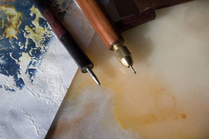 outils de gravure, pointe et roulette