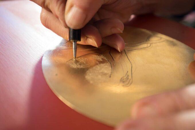 gravure à la pointe séche, laiton