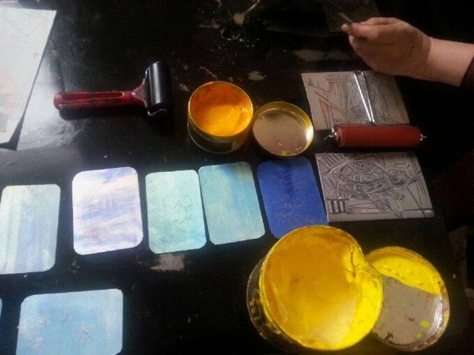 gravure, encrage et essuyage, lino et tetrapack
